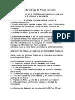 Requisitos Para La Entrega de Planes e Informes Finales