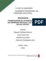 PLANIFICACIÓN DE LA PRODUCCIÓN EN LAS EMPRESAS AVÍCOLAS
