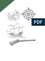 Brujula Astrolabio y Carabelas Para Dibvujar