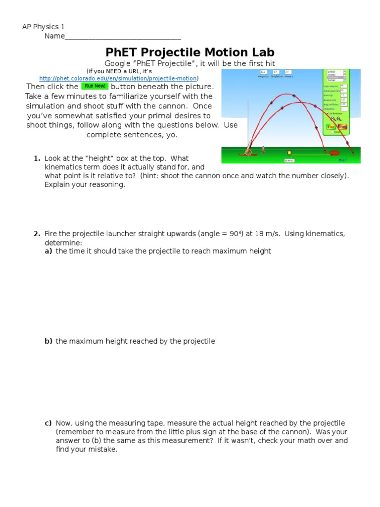 Worksheets Projectile Motion Worksheet With Answers ap physics phet projectile lab trajectory drag physics
