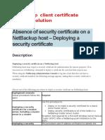 Netbackup Client Certificate Problem Solution
