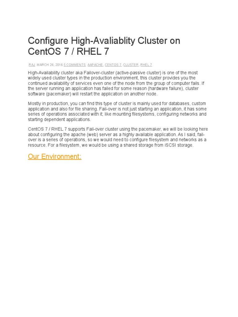 Configure High Avaliablity Cluster on Centos 7 Rhel 7