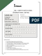 LRN Level B2 June 2016 Exam Paper With Speaking