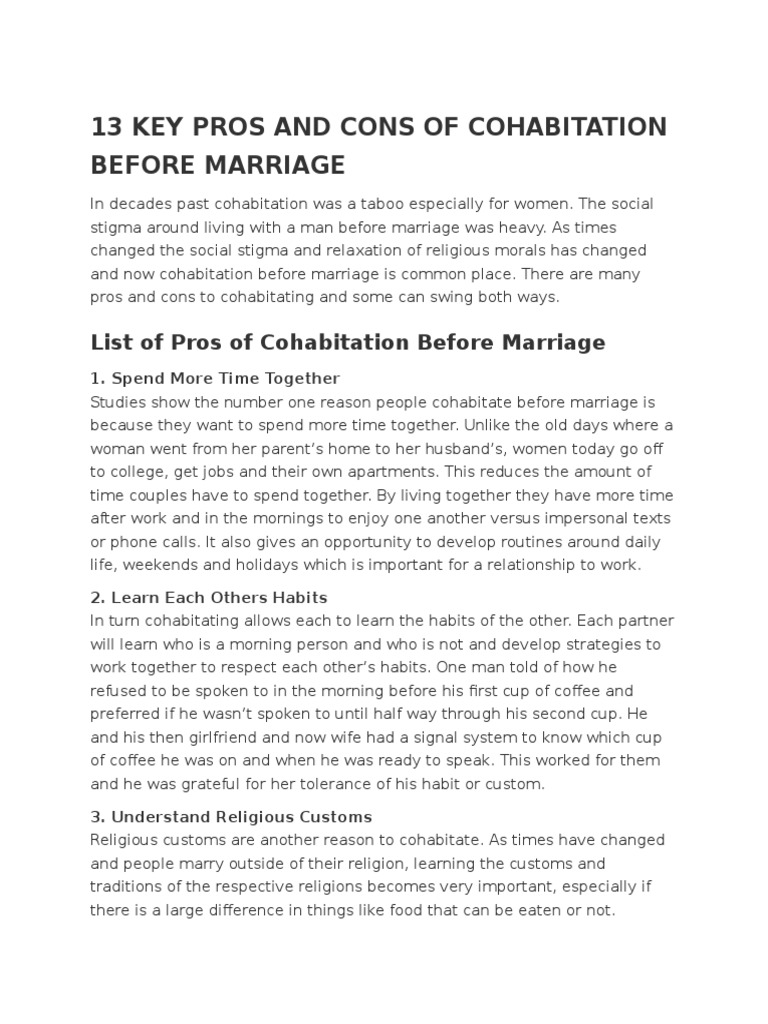 Pros And Cons Of Cohabitation Before Marriage