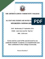 Student Convocation Flyer 21st September 2016