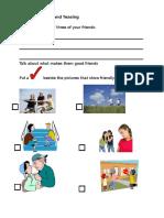 Activity Sheet 1 Friends and Teasing