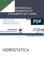 3 - Hidrostática e Fundamentos Do Escoamento de Fluidos