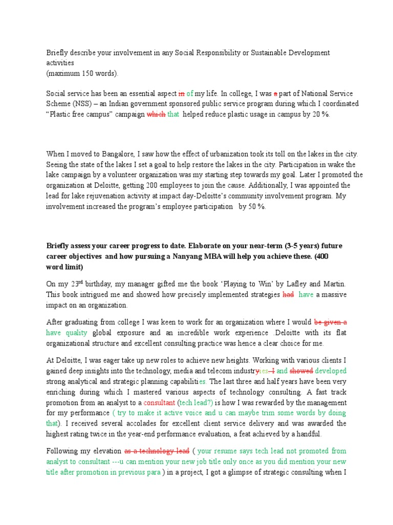 MBA application Essay for Nanyang | Master Of Business ...