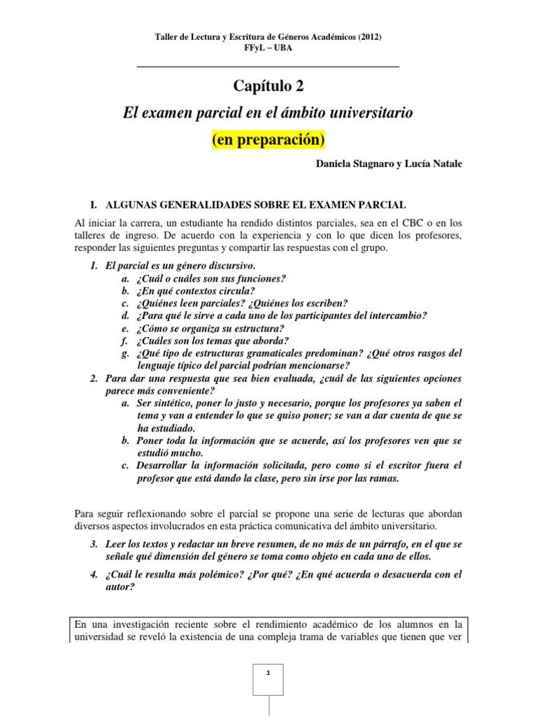 El Examen Parcial en El Ámbito Universitario