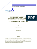 Profitability of Investment in Education 1995 G Psacahropolous