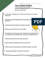 Syllables Worksheet 3