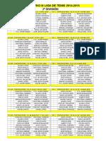Cal. Tenis 2ª DIVISIÓN 2014-15