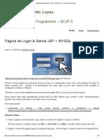 Página de Login & Senha JSP + MYSQL _ Java - Blog Camilo Lopes