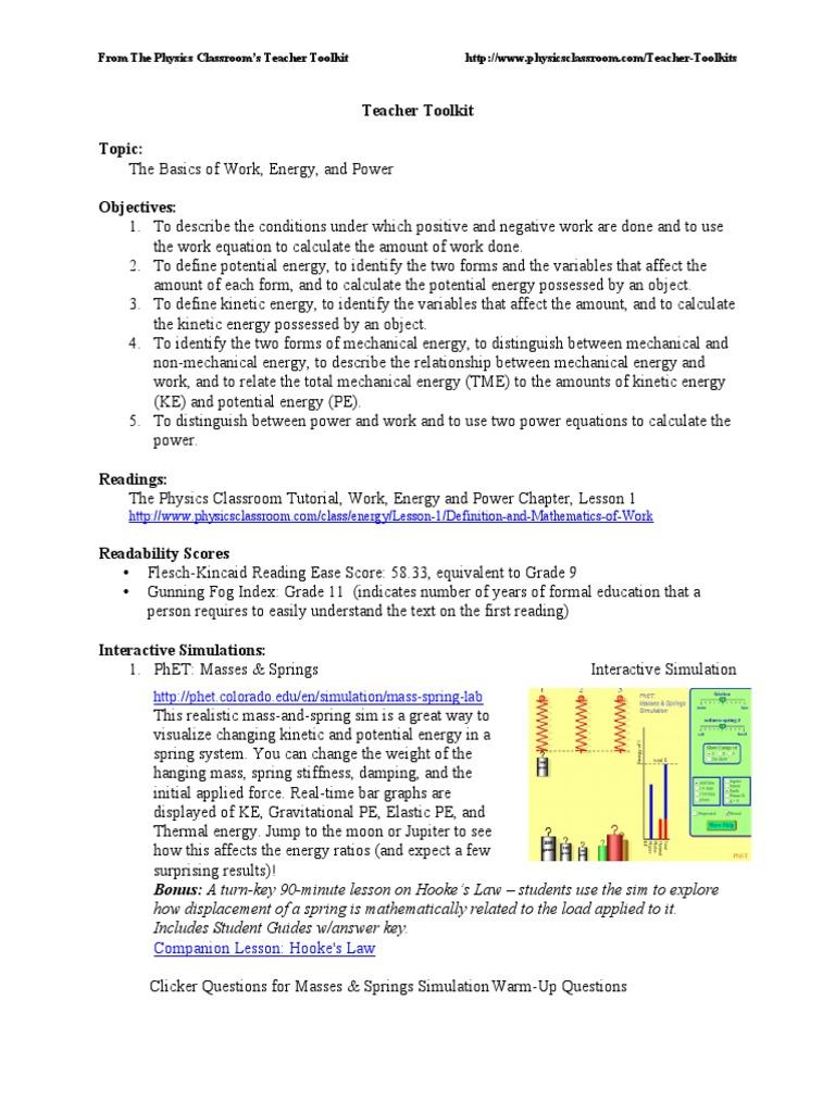 Work Energy 1   Force   Mass