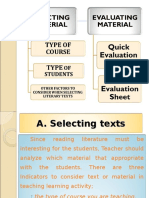 Selecting and Evaluating Materials in Literary Text