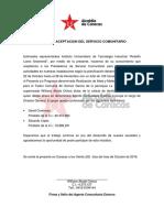 Carta de Aceptacion Del Servicio Comunitario