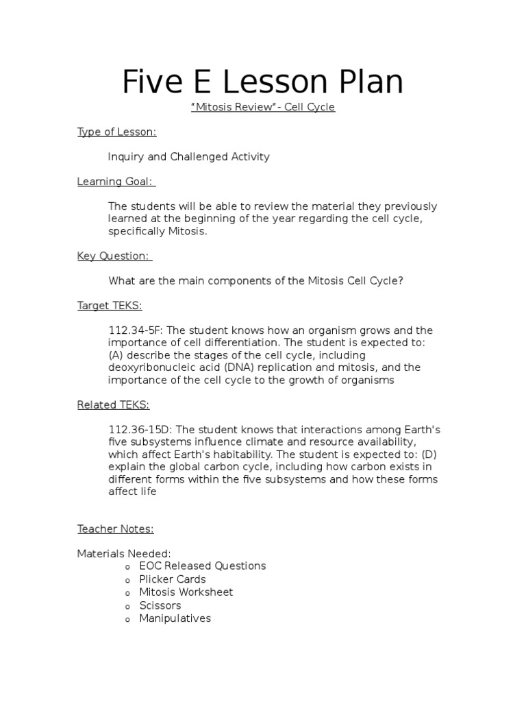 five e lesson plan mitosis review Mitosis – Cell Cycle and Mitosis Worksheet