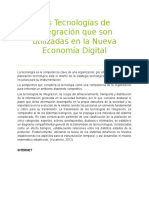 Las Tecnologías de Integración Que Son Utilizadas en La Nueva Economía Digital