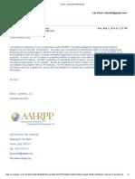 Elyse Summers AAHRPP Email to Carl Elliott May 5 2014