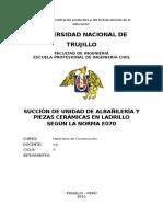Succión de Unidad de Albañilería y Piezas Cerámicas en Ladrillo Según La Norma e070