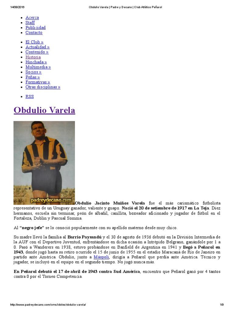 Obdulio Varela Padre y Decano Club Atlético Pe±arol