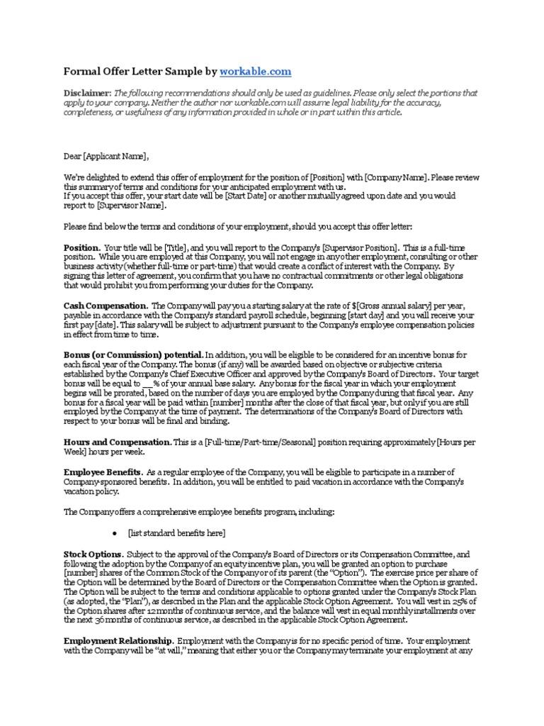 formal offer letter sample executive compensation employment