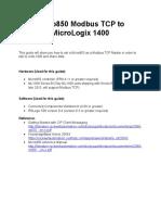 Micro850 Modbus TCP to Micrologix 1400