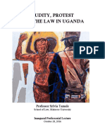 Prof. Sylvia Tamale inaugral lecture on nudity, protests and the law