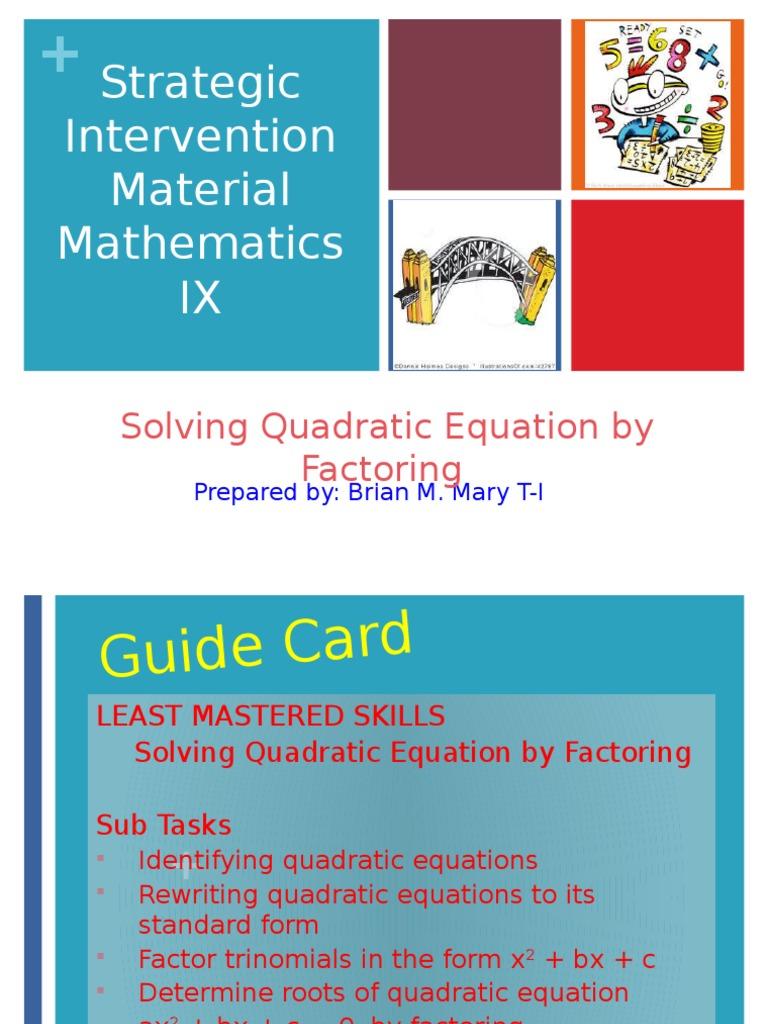 Solving Quadratic Equation by Factoring | Quadratic Equation ...