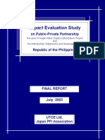Impact Evaluation Study on Public-Private Partnership the case of Angat Water Supply Optimization Project and the Metropolitan Waterworks and Sewerage System Republic of the Philippines