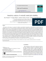 Sensitivity Analysis of Vertically Loaded Pile Reliability
