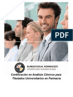 Certificación en Análisis Clínicos para Titulados Universitarios en Farmacia