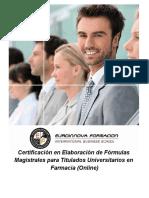 Certificación en Elaboración de Fórmulas Magistrales para Titulados Universitarios en Farmacia (Online)