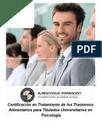 Certificación en Tratamiento de los Trastornos Alimentarios para Titulados Universitarios en Psicología