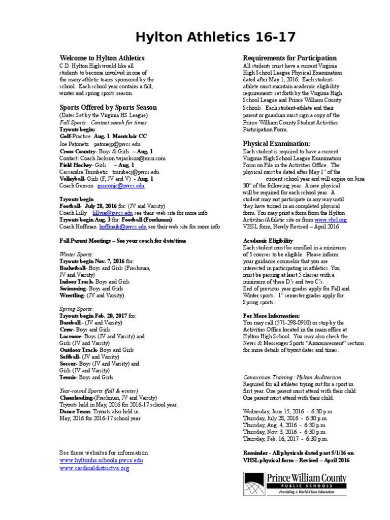 Hylton Athletics 16 17 Revised Information Flyer 1 Sports Leisure