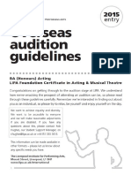 2015 Entry Overseas Acting Audition Guidelines