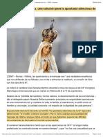 """""""El mensaje de Fátima, una solución para la apostasía silenciosa de hoy"""" – ZENIT – Espanol"""