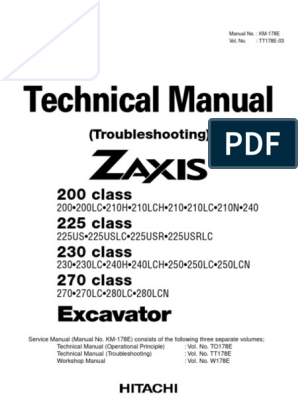 Technical Manual (Troubleshooting) of ZX 200-225-230-270