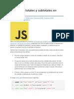Cálculo de Totales y Subtotales en JavaScript