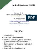 Lecture 41-42 Quadratic Optimal Control