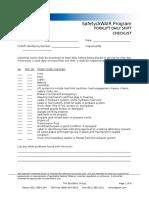 Forklift Daily Shift Checklist