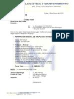 Logistica y Mantenimiento COTZ 005