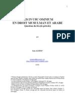 French - Res in Usu Omnium en Droit Musulman Et Arabe 1996