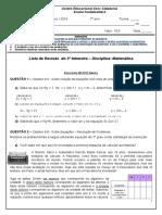 6. Lista Revisão Matematica 7 Anos III Trimestre