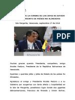 2016.09.17 Discurso Xvii Cumbre Del Movimiento de Países No Alineados 1
