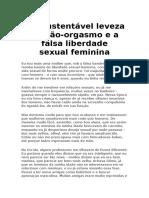 A Insustentável Leveza Do Não Orgasmo Falsa Liberdade Sexual Feminina