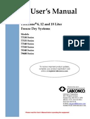 Labconco Manual liofilizadora | Freeze Drying | Ac Power