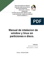Manual de Intalacion de Window y Linux en Particiones de Disco