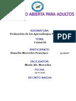 Tarea III Evaluacion de Los Aprendizaje Damelia Mercedes