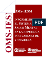 OMS - Informe Sobre El Sistema de Salud Mental en Venezuela 2013
